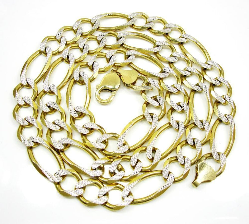 12MM 14K Yellow Gold Pave Figaro Link Chain, Chain, Jawa Jewelers, Jawa Jewelers