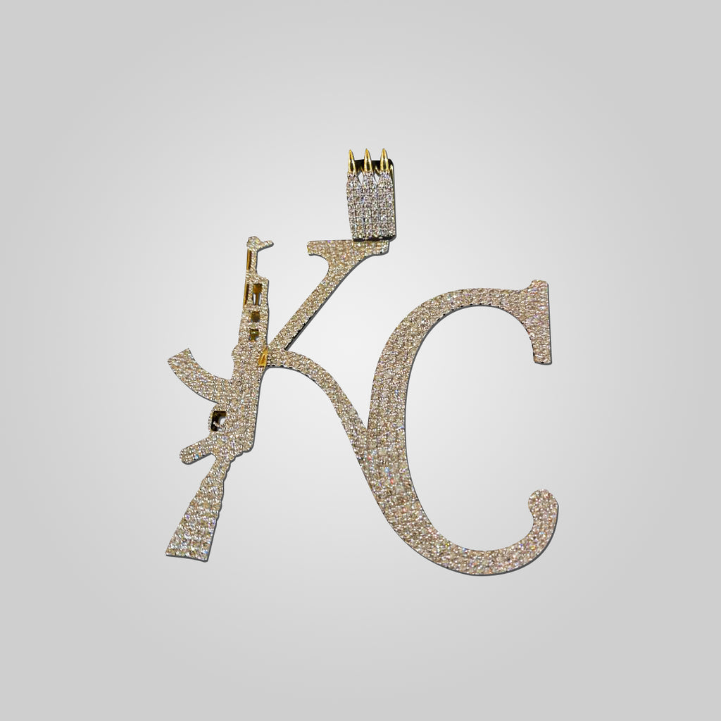 10K Yellow Gold KC AK47 Diamond Gun Pendant