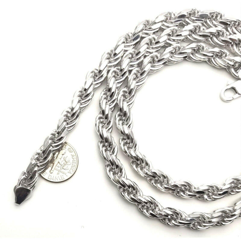 100-5MM Yellow Gold Plated Rope Chain .925 Solid Sterling Silver