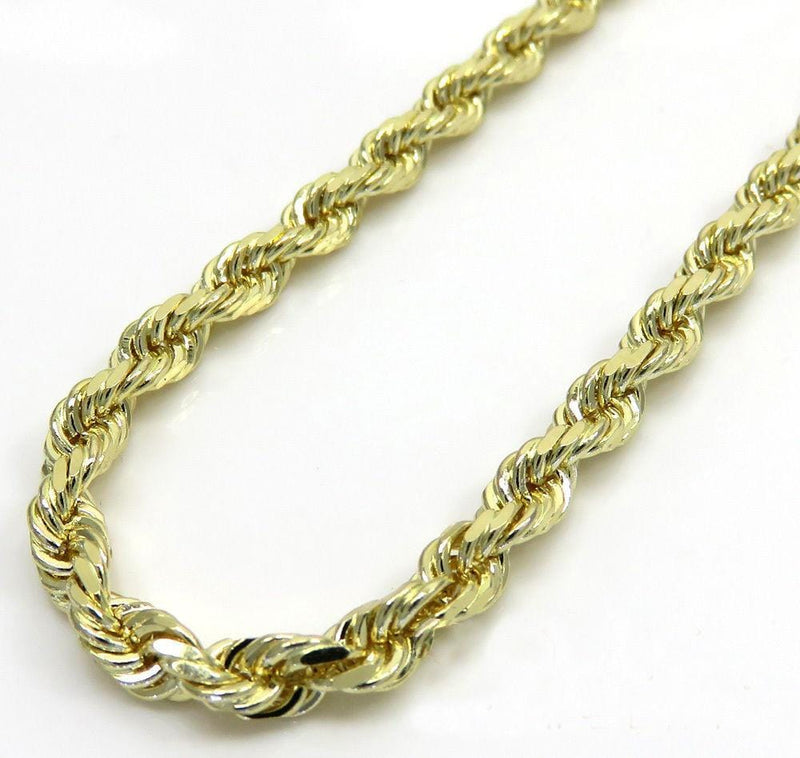 10K Yellow Gold 4MM Solid Rope Chain Diamond Cut Necklace