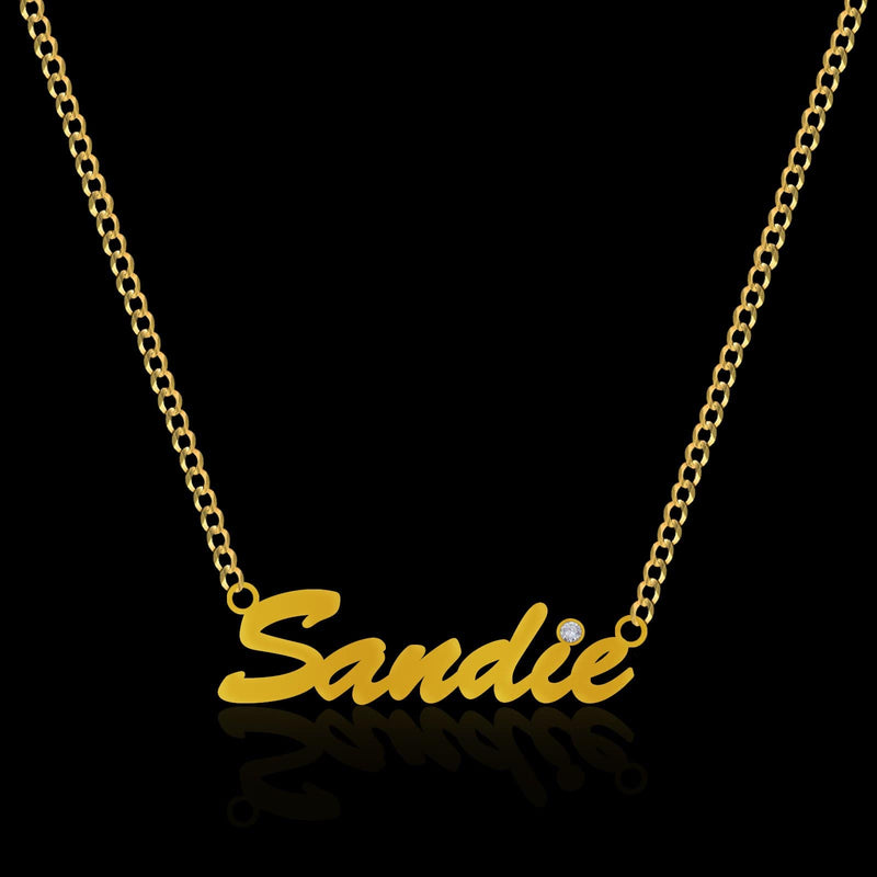 name plate gold pendant