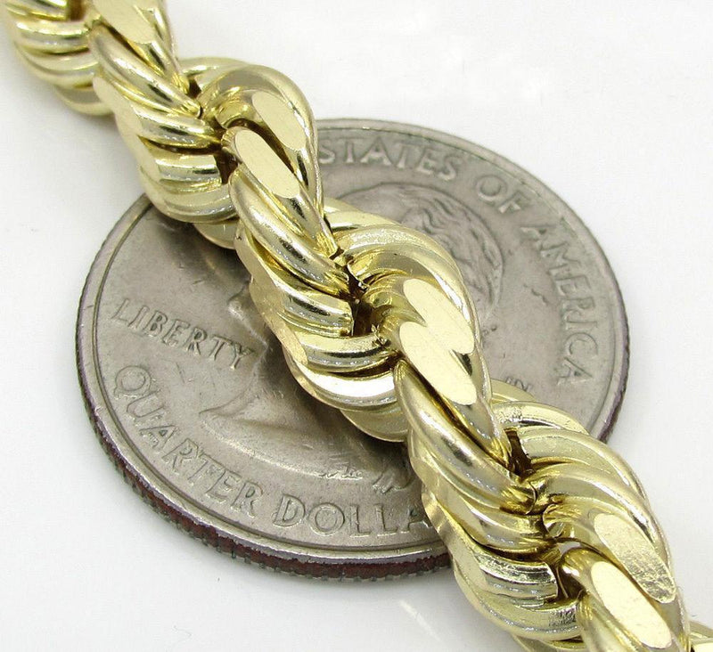 7MM yellow Gold Diamond cut Rope Chain