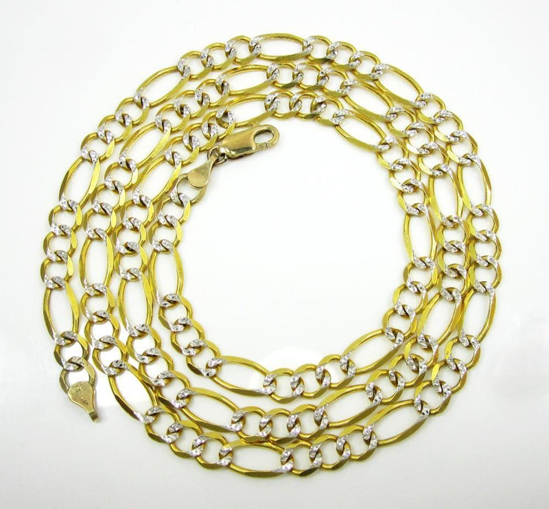 6.5MM 10K Yellow Gold Pave Figaro Link Chain, Chain, Jawa Jewelers, Jawa Jewelers