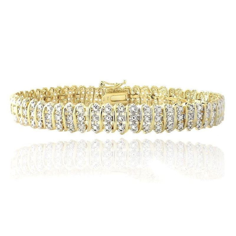 1.00 TDW Diamond Wave Link Gold Tone Plated Tennis Bracelet