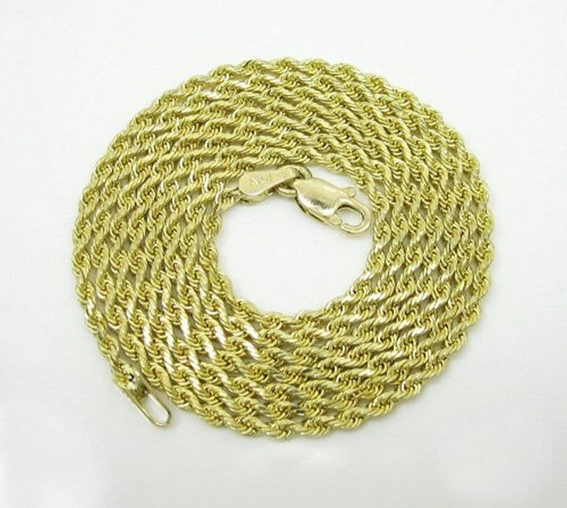 10K Yellow Gold 6MM Diamond Cut Rope Chain Necklace 20 - 28 Inches - Jawa Jewelers