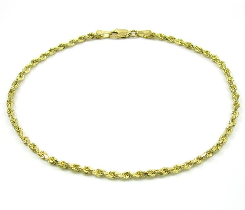 10K Yellow Gold Rope 2.5MM Bracelet 7 to 8 Inches - Jawa Jewelers