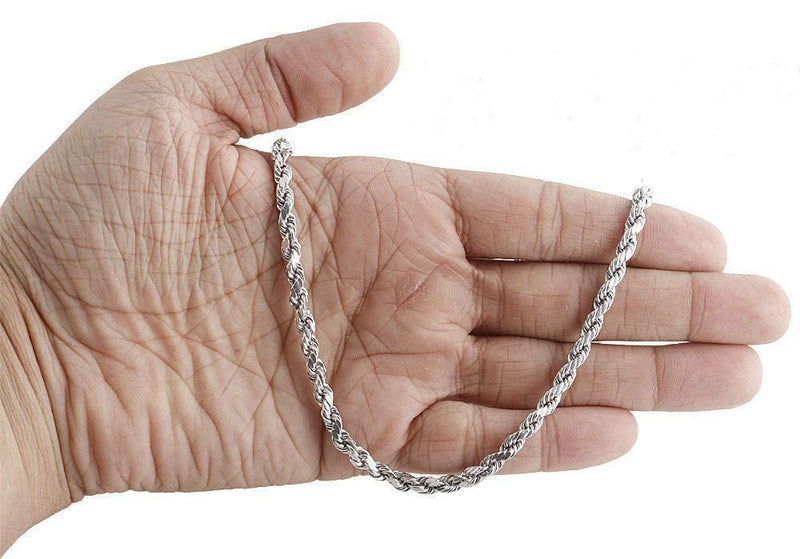 White Gold 5mm Rope Chain necklace on hand