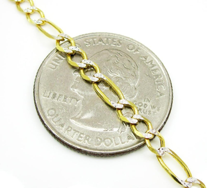 3.5MM 10K  Gold Hollow Pave Figaro Link Chain, Chain, Jawa Jewelers, Jawa Jewelers