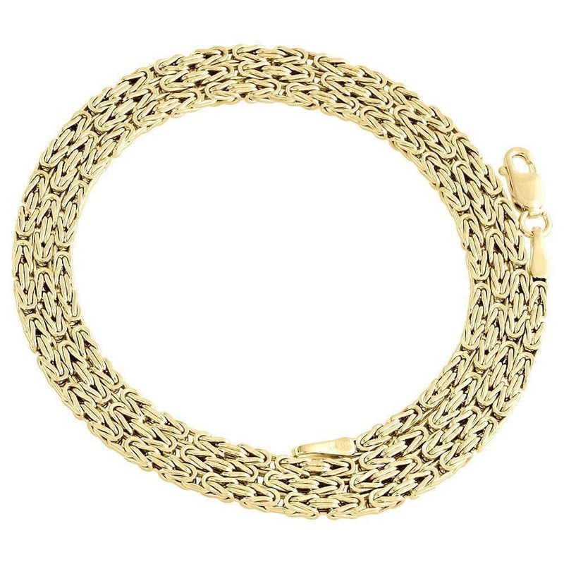"5MM Men's Women 10K Real Gold Byzantine Link Chain Necklace 20""-28"" Inches, Chain, JJ-AG, Jawa Jewelers"