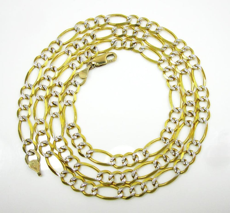 6.5MM 14K Yellow Gold Pave Figaro Link Chain, Chain, Jawa Jewelers, Jawa Jewelers