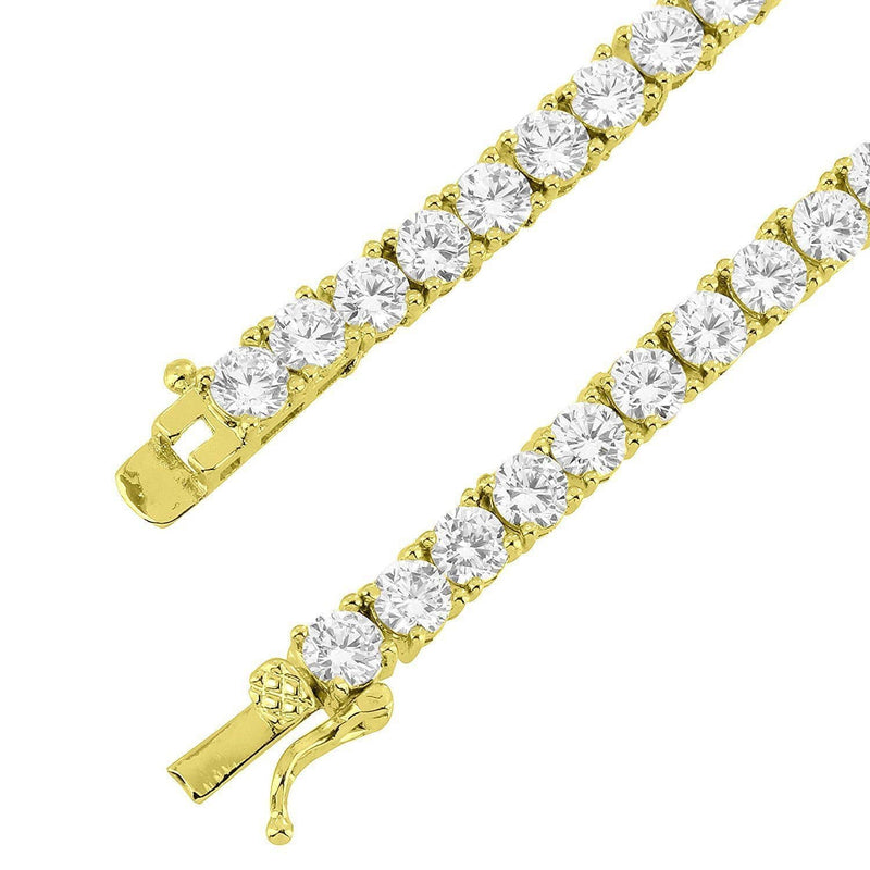 4MM 14K Gold Finish CZ Diamonds Choker Tennis Chain