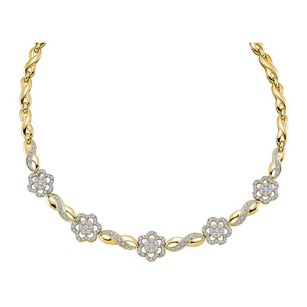 14K Yellow Gold Womens Round Diamond Infinity Flower Cluster Necklace 2.00 Cttw
