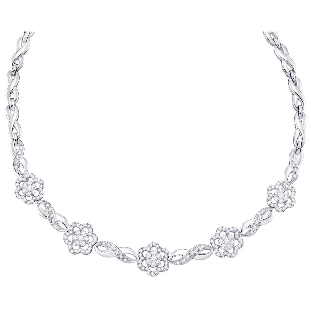 14K White Gold Womens Round Diamond Infinity Flower Cluster Necklace 2.00 Cttw