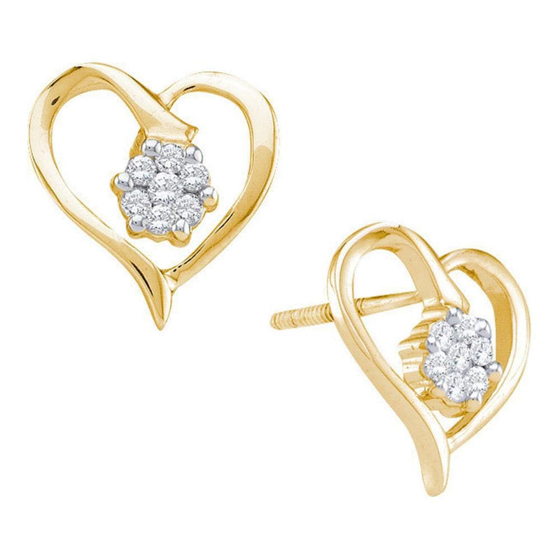 10kt Yellow Gold Womens Round Diamond Cluster Heart Screwback Earrings 1/6 Cttw