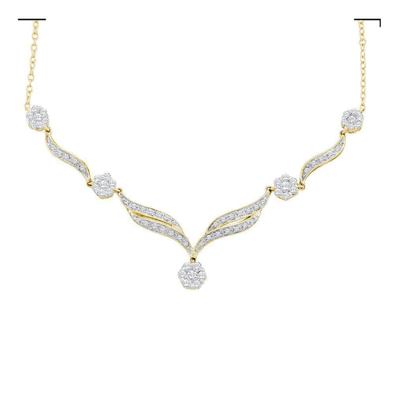 14K Yellow Gold Womens Round Diamond Cluster Y-Shape Necklace 3/4 Cttw