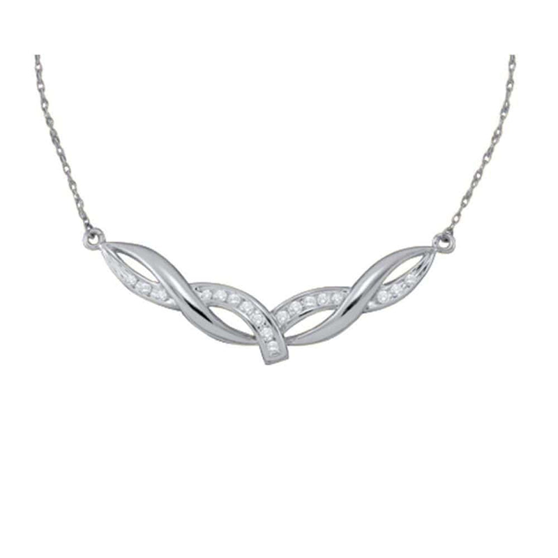 10K White Gold Womens Round Diamond Twist Bar Fashion Pendant Necklace 1/3 Cttw