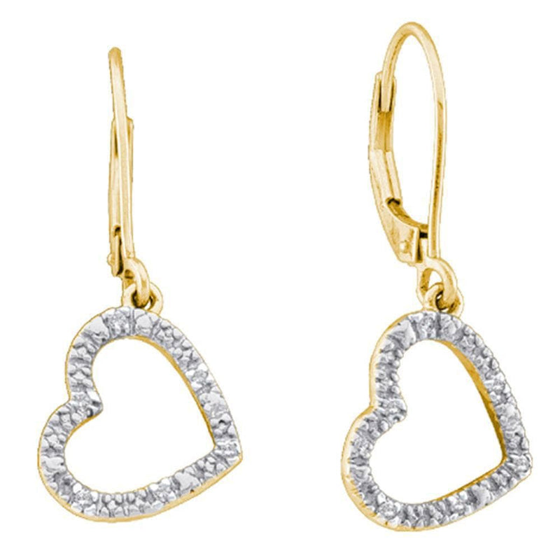 10kt Yellow Gold Womens Round Diamond Heart Dangle Earrings 1/20 Cttw