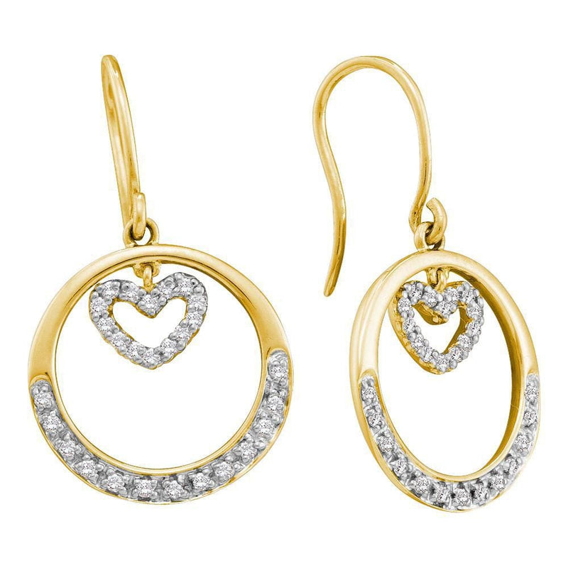 14kt Yellow Gold Womens Round Diamond Circle Heart Dangle Wire Earrings 1/4 Cttw