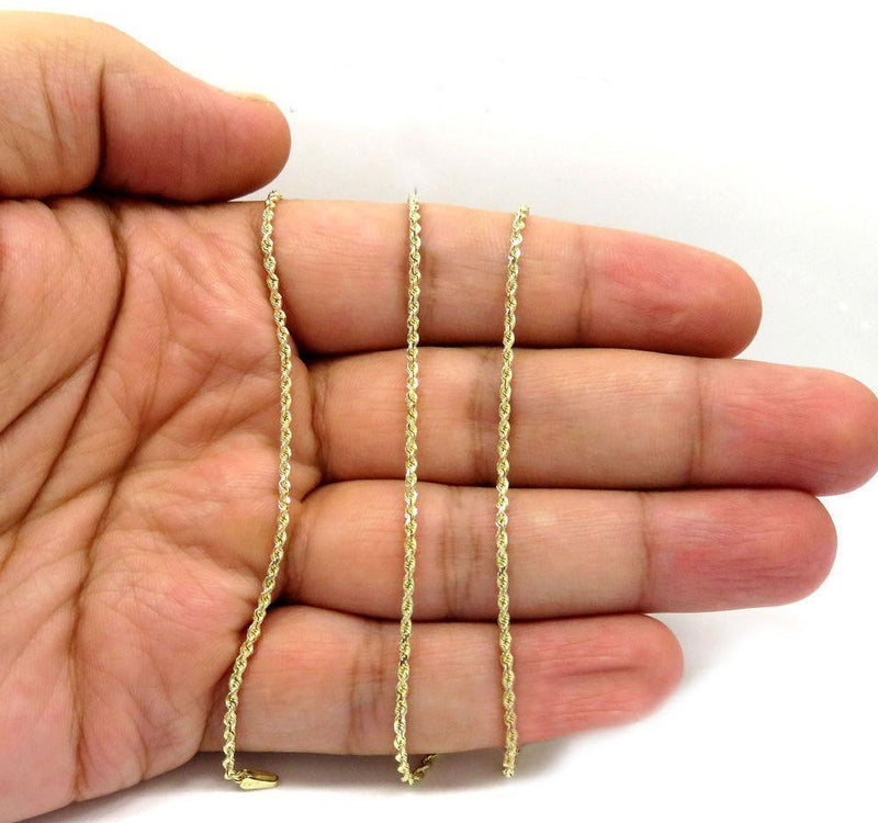 Gold Diamond Cut Rope Chain on hand