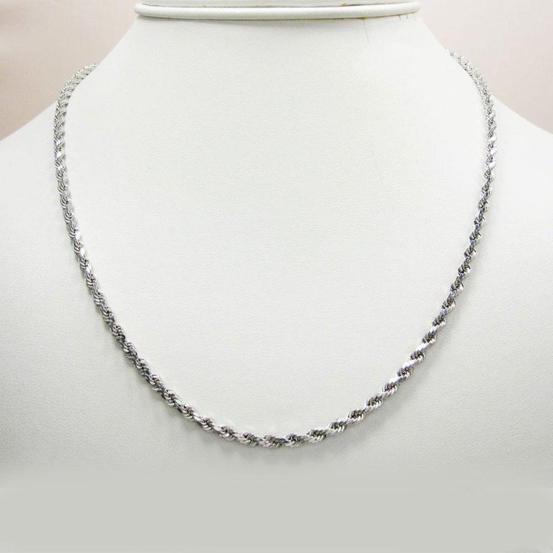 14K White Gold 3MM Rope Chain Diamond Cut Necklace, Chain, JJ-AG, Jawa Jewelers