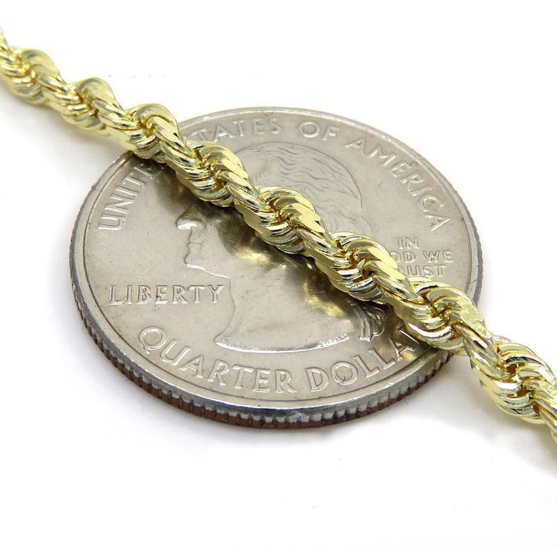 3.5MM yellow Gold Rope Chain
