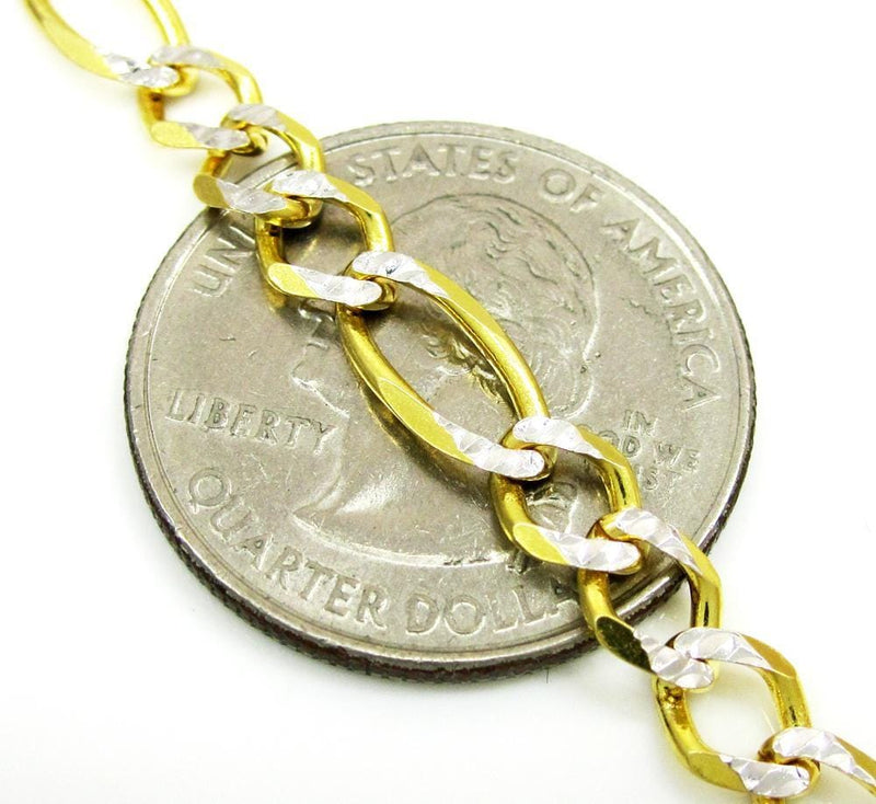 5.5MM 10K Yellow Gold Pave Figaro Link Chain, Chain, Jawa Jewelers, Jawa Jewelers