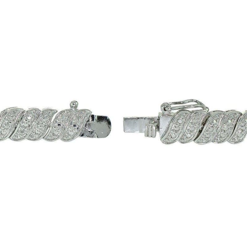"0.25 Ct Silver Plated Diamond Wave Link Tennis Bracelet 7.5"", Bracelets, Jawa Jewelers, Jawa Jewelers"