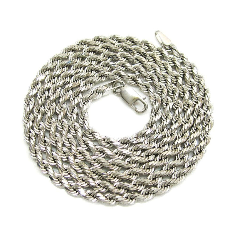 14K White Gold 2MM Rope Chain Diamond Cut Necklace, Chain, JJ-AG, Jawa Jewelers