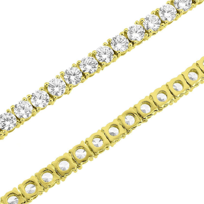 14K Gold Finish CZ Diamonds Choker Tennis Chain Necklace