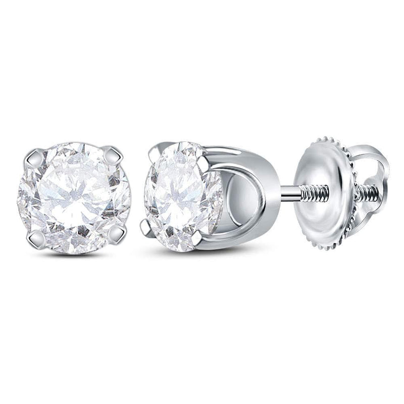 14kt White Gold Unisex Round Diamond Solitaire Stud Earrings 7/8 Cttw
