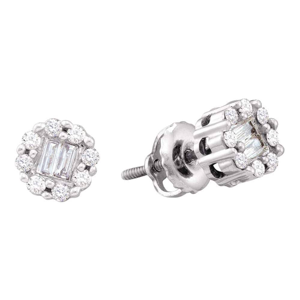 14kt White Gold Womens Round Baguette Diamond Cluster Screwback Stud Earrings 1/4 Cttw