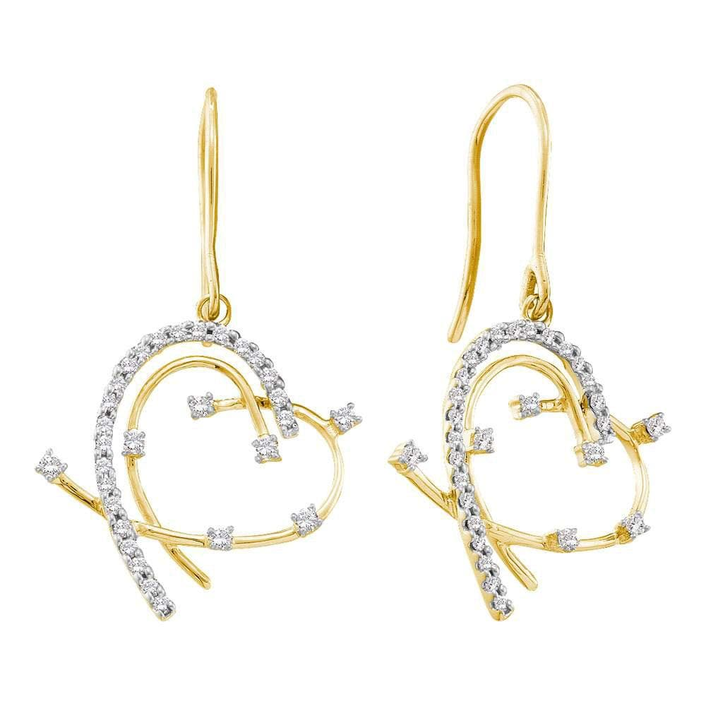 14kt Yellow Gold Womens Round Diamond Wire Heart Dangle Earrings 1/3 Cttw