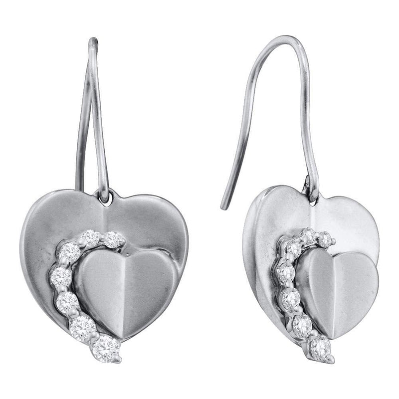 14kt White Gold Womens Round Diamond Heart Dangle Wire Earrings 1/3 Cttw