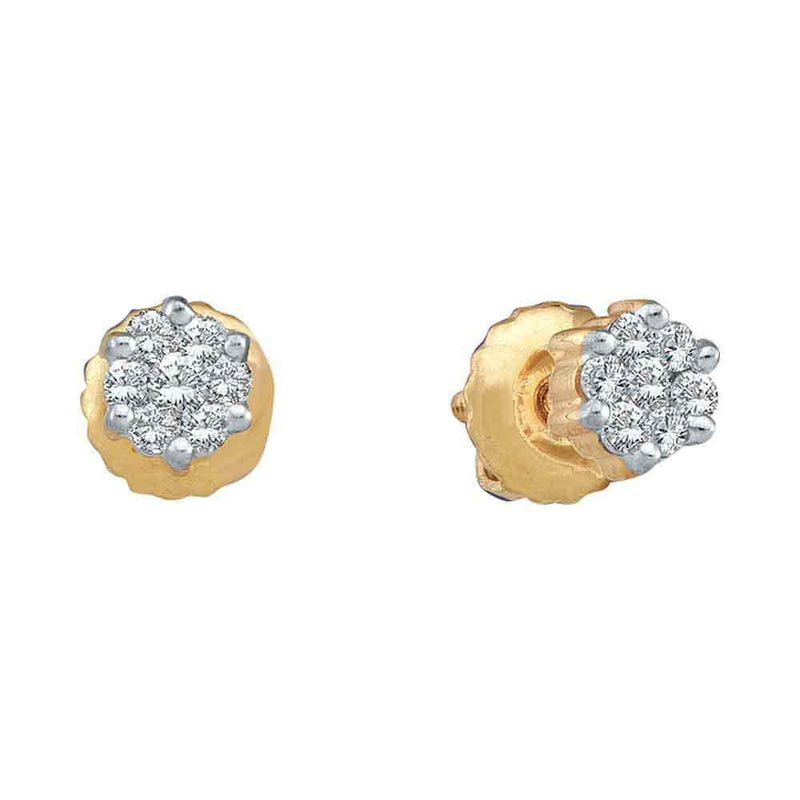 10k Yellow Gold Round Diamond Flower Cluster Womens Screwback Stud Earrings 1/6 Cttw