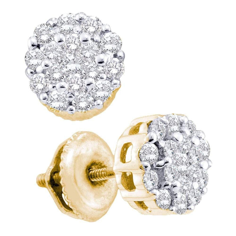 14kt Yellow Gold Womens Round Diamond Flower Cluster Screwback Earrings 1/2 Cttw