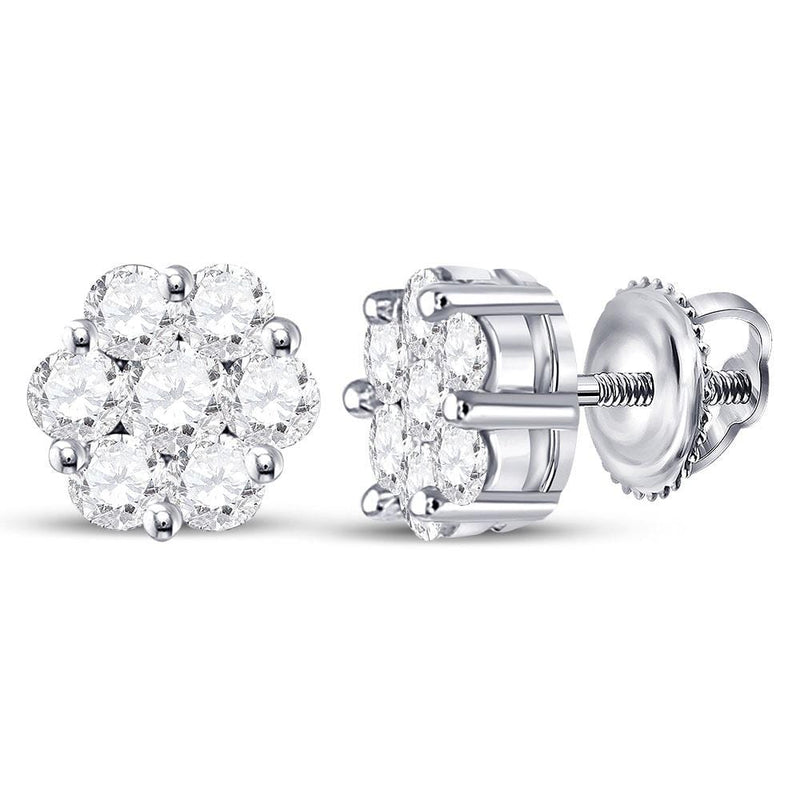 14kt White Gold Womens Round Diamond Flower Cluster Earrings 3/4 Cttw
