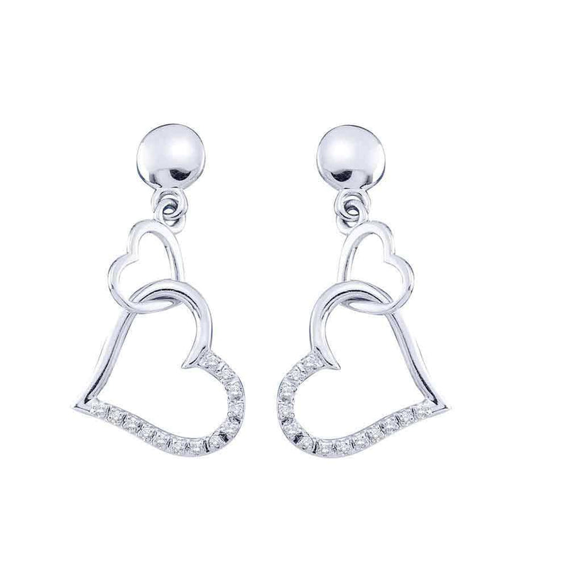 10kt White Gold Womens Round Diamond Linked Hearts Dangle Screwback Earrings 1/10 Cttw
