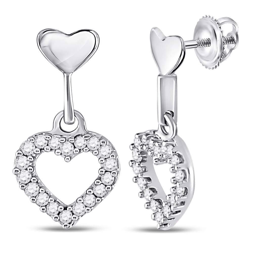 10kt White Gold Womens Round Diamond Small Heart Dangle Screwback Earrings 1/5 Cttw