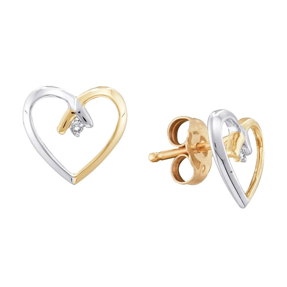 10kt Yellow Gold 2-tone Womens Round Diamond Heart Stud Earrings .02 Cttw