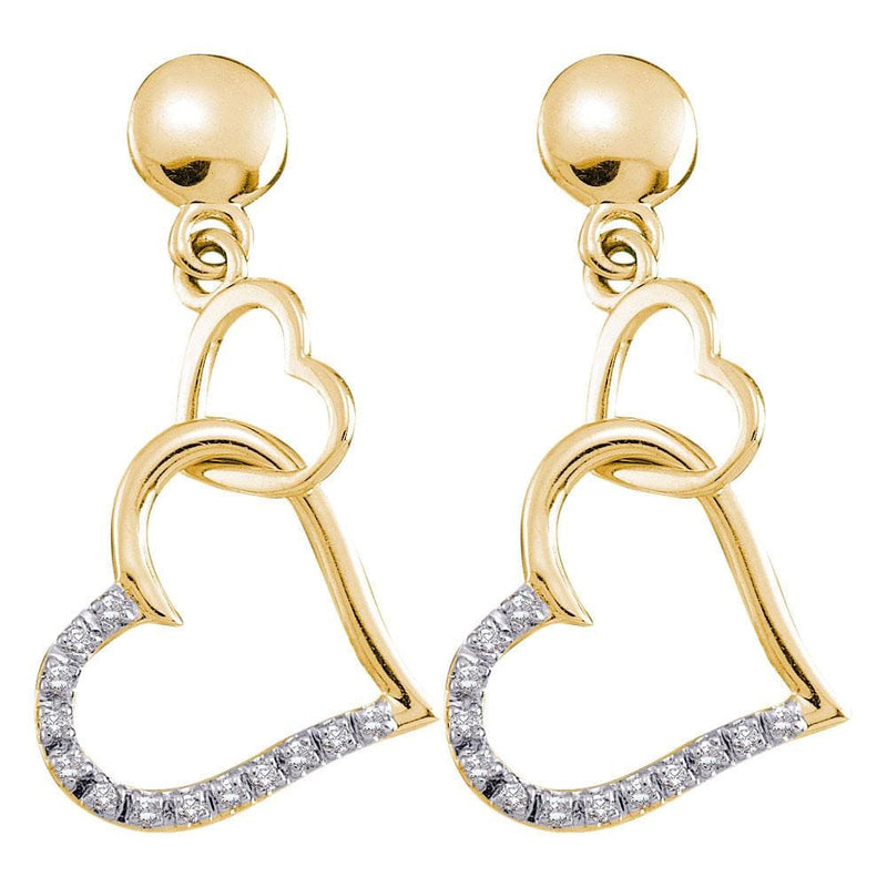 14kt Yellow Gold Womens Round Diamond Linked Hearts Dangle Screwback Earrings 1/10 Cttw