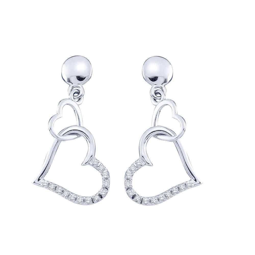 14kt White Gold Womens Round Diamond Linked Hearts Dangle Screwback Earrings 1/10 Cttw