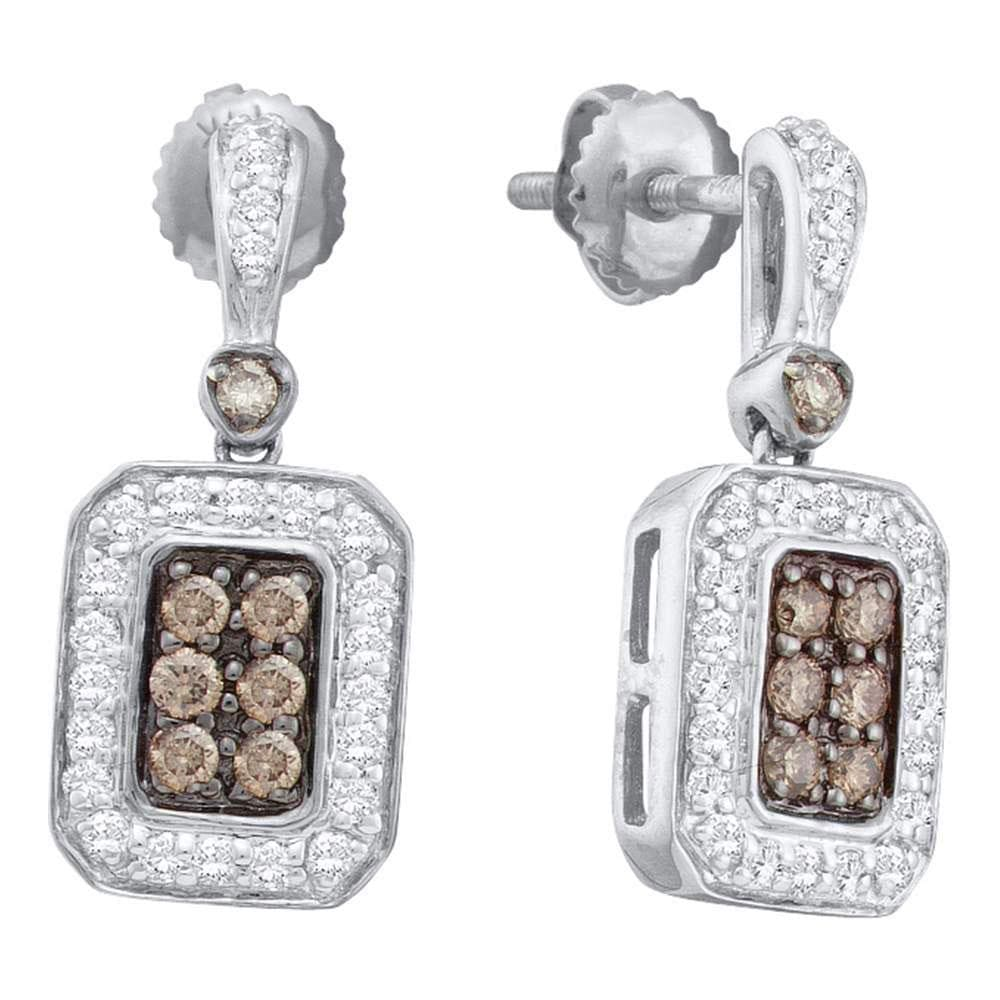 14kt White Gold Womens Round Cognac-brown Color Enhanced Diamond Rectangle Dangle Earrings 1/2 Cttw