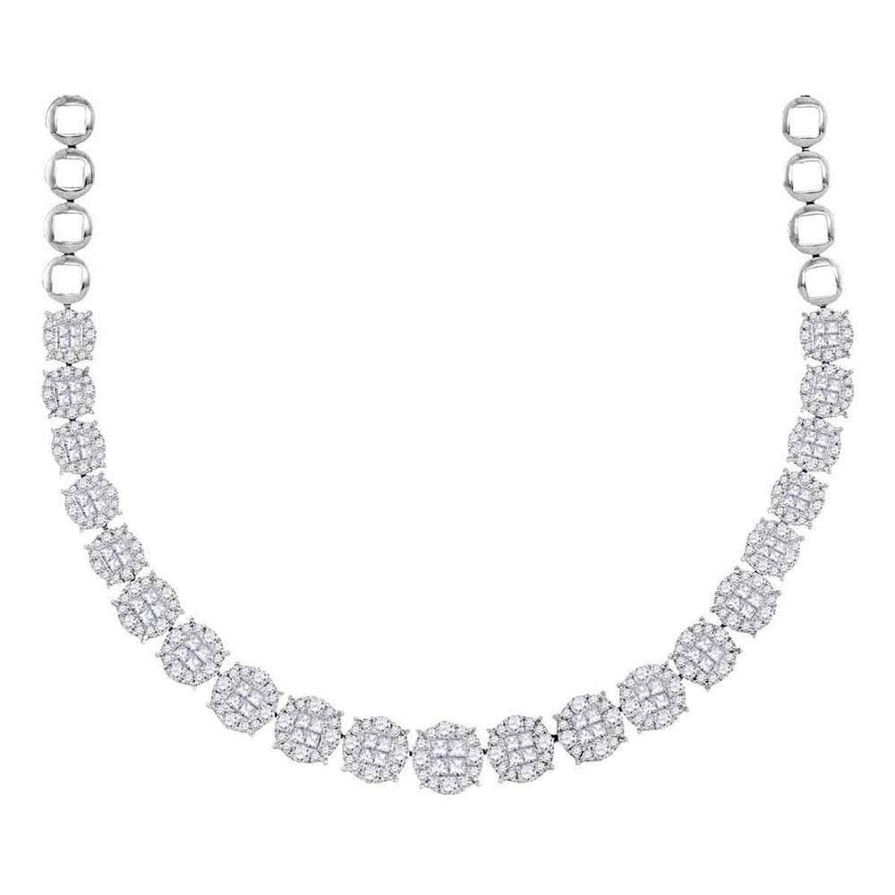 14K White Gold Womens Princess Diamond Soleil Cluster Luxury Necklace  10 Cttw