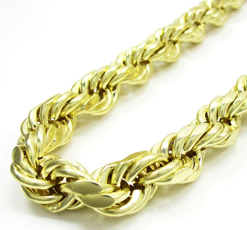 10MM 10K Solid Yellow Gold Rope Chain Necklace 22 Inches