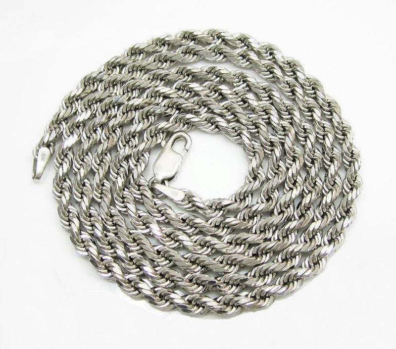 10K White Gold Rope Chain