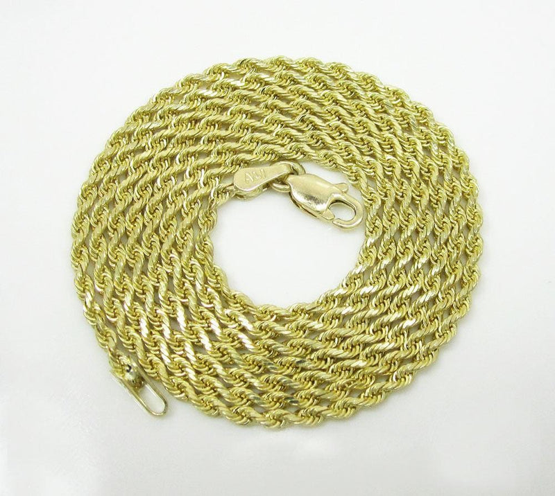 10K Yellow Gold 2.5MM Hollow Rope Chain Necklace, Chain, JJ-AG, Jawa Jewelers
