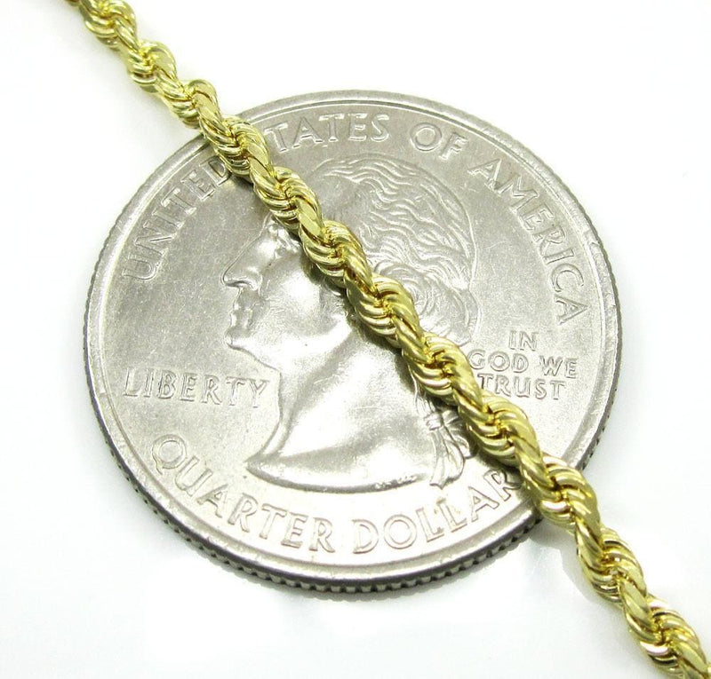 2.5 mm gold rope chain bracelet