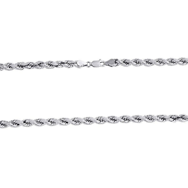 14K White Gold 4MM Rope Chain Diamond Cut Necklace, Chain, JJ-AG, Jawa Jewelers