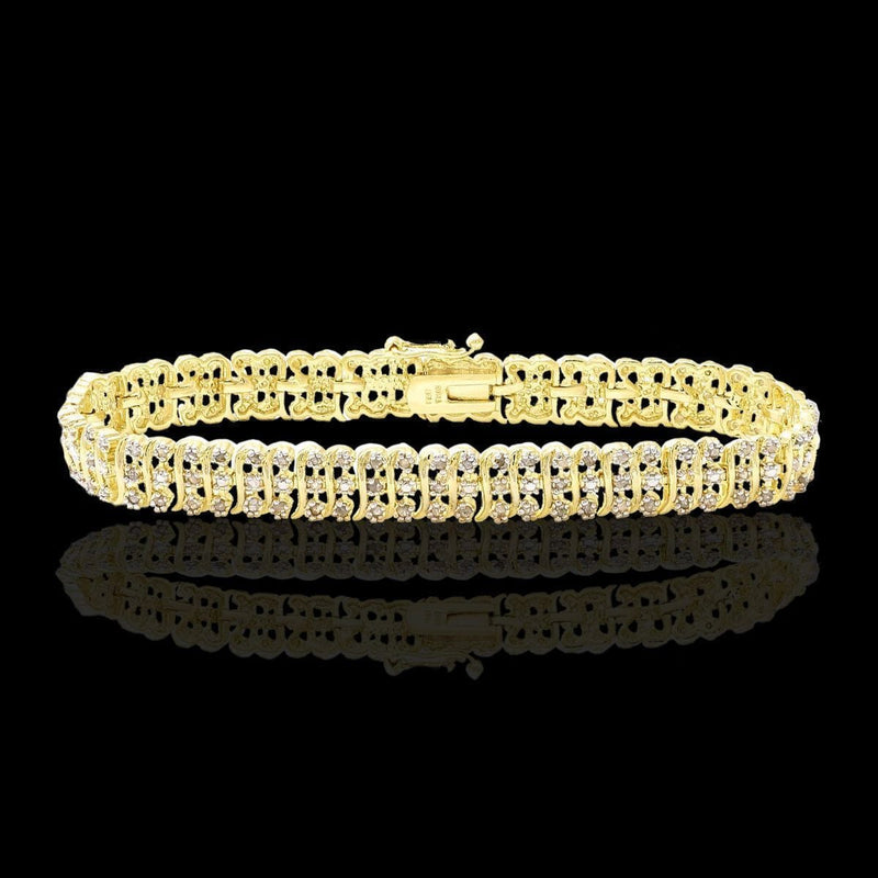 14K Yellow Gold Finish 2.0 CTW Diamond Tennis Bracelet, Bracelets, Jawa Jewelers, Jawa Jewelers