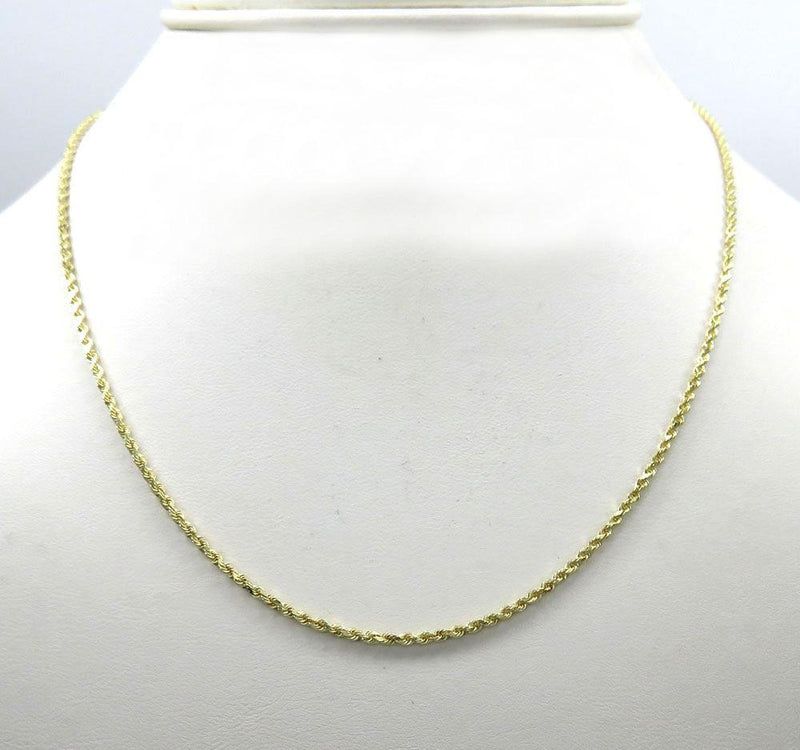 14k Yellow Gold 1MM Solid Rope Chain Diamond Cut Necklace, Chain, JJ-AG, Jawa Jewelers